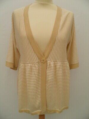 MAMAS & PAPAS Maternity Beige Yellow Cream striped cardigan cover up 12 14 New