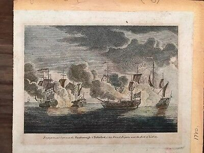 Antique Military 18th Century Hand Coloured Engraving 1780 Navy Anglo French War