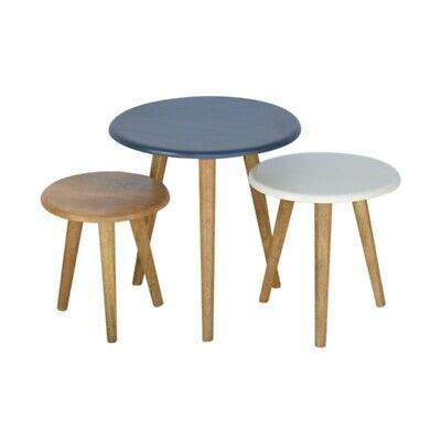 Scandinavian Solid Wood Painted Nesting Side Tables Milking Stool Style