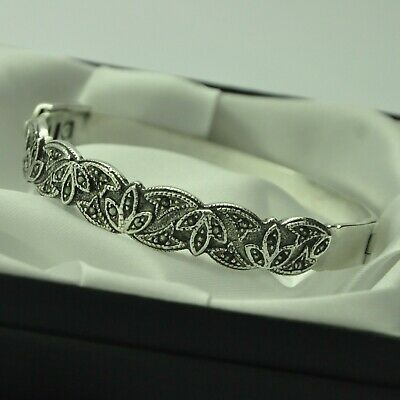 Solid 925 Sterling Silver Ornate Marcasite Set Bangle Bracelet with Double Lock