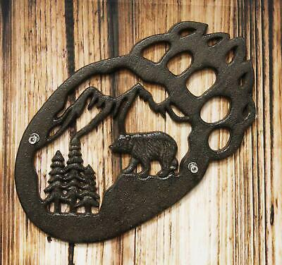 """Western Black Bear Paw Cast Iron Metal Wall Plaque Home Decor 11.5"""" Wide"""