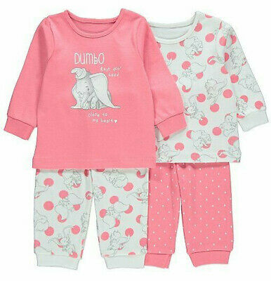 Disney Girls Dumbo Long Sleeve Pink Pyjamas 2 Pack 2-3 Years Brand New