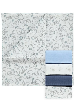 Disney Baby Boys Dumbo Muslin Squares 5 Pack Burp Cloths Bib Gift New