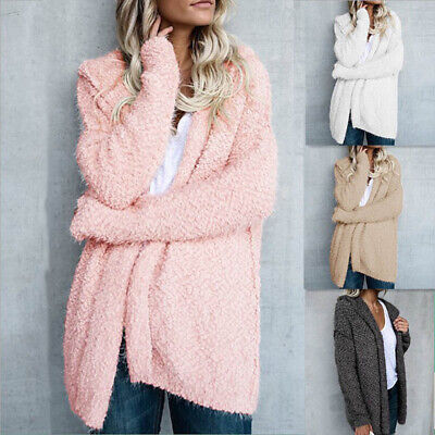 Womens Coat Warm Hooded Woolen Fleece Jumper Fluffy Cardigan Outfit Jac FR