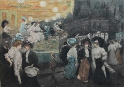 "Large Original Signed MANUEL ROBBE (French) Color Aquatint ""Le Manege""  c. 1905"