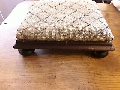Antique Victorian Mahogany Footstool On Bun Feet For Upholstering