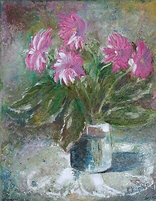 Hand Painted Original Oil Painting Canvas Unframed Flowers Fine Art Still Life