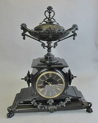 A FRENCH GRAND TOUR Continental Bronze Mounted Slate Mantel Clock c. 1870s +