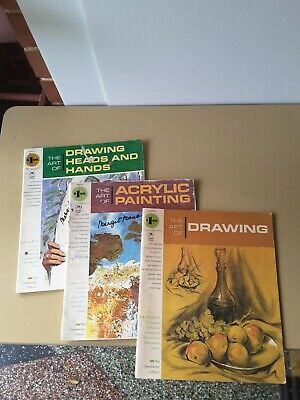THREE 1970s Grumbacher Library Instruction Books ACRYLIC PAINT DRAWING HEAD HAND