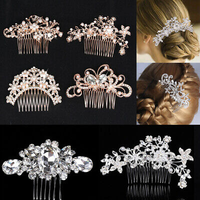 Wedding Bridal Hair Pins Slide Comb Flower Clips Crystal Pearl Diamante Prom