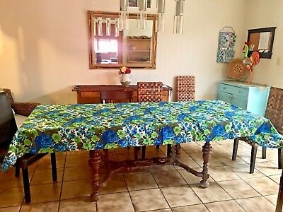 Fabric Tablecloth Mid Century Kitsch Blue Green Flower Huge 10ft by 4ft  7in VTG