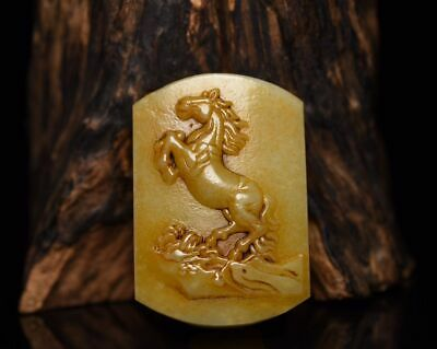 """2.8"""" Chinese Fine 100% Natural handcarved hetian jade Horse Waist buckle Statue"""
