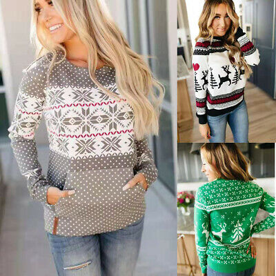 Fashion Women Round Neck Xmas Sweater Christmas Jumper Sweatshirt Pullover Tops