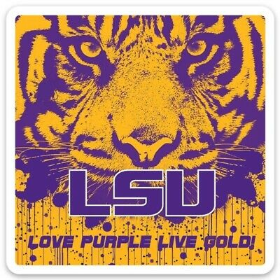 "LSU Louisiana State University Tiger ""Purple Rain"" Love Purple Live Gold Magnet"