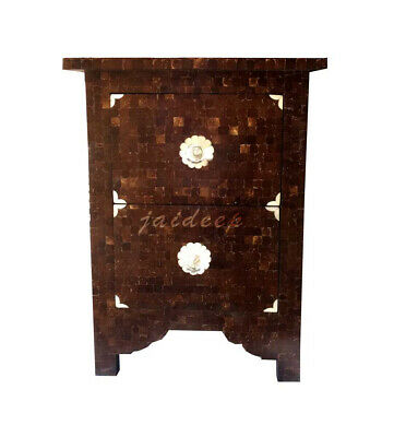Handmade Bone Inlay Brown Shell  Natural Antique Bedside Table