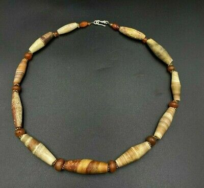 Superb ancient Bactrian jasper and agate  bead necklace