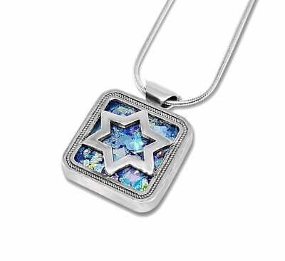 Ancient Roman Glass 925 Silver Star Of David Pendant Jewish Pendant