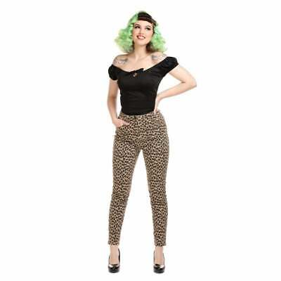 Collectif Maddy Leopard Denim Jean Trousers Vintage Rockabilly Pin Up Hotrod