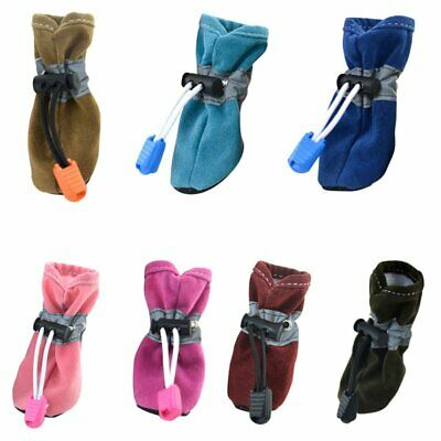 4pcs Pet Dog Waterproof Shoes Winter Warm Soft Thick Breathable Dogs Boot NEW