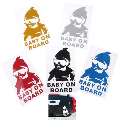 BABY ON BOARD Creative Fashion Car Sticker Tail Warning Sign Waterproof DecalSR