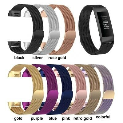 Luxury Milanese Bands For Fitbit Charge 2 3 Stainless Steel Mesh Metal Bracelet