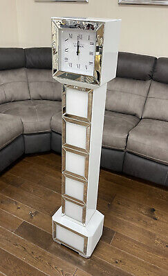 Tall Mirrored White Glass Square Design Grandmother Grandfather Standing Clock