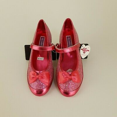 My London Girl Childrens Fuchsia Pink Sparkly Glitter Xmas Party Shoes New