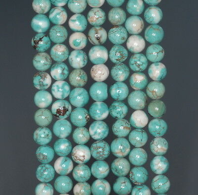 """6-7MM Howlite Turquoise Gemme Rond Vrac 15.5 Perles """""""