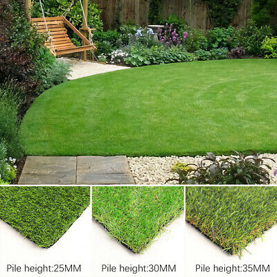 Artificial Grass Green Realistic 25/30/35mm Thick Garden Fake Lawn Turf Astro UK