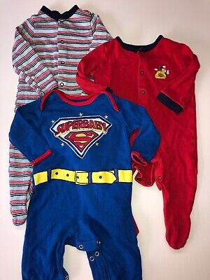 Baby Boys Bundle Of Three Sleepsuits Size 3-6 Months