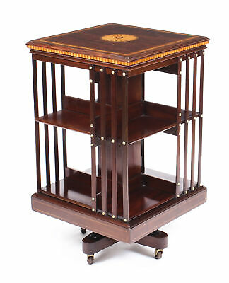 Antique Edwardian Revolving Bookcase Flame Mahogany Maple & Co c.1900