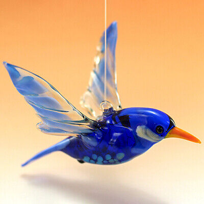 Hummingbird Glass Figurine, Fused Glass Sculpture Hand Blown Murano Glass Italy