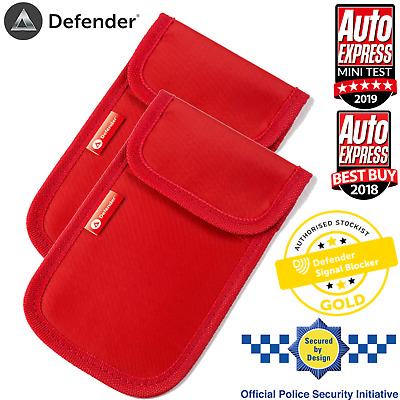 2x Genuine Defender Signal Blocker Car key Signal Jamming Pouch RED UK Stock