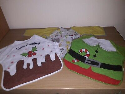 Baby Toddler Bibs With Sleeves * Christmas * Unisex x3