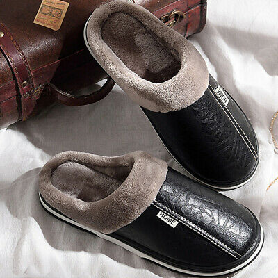 Mens Leather House Slippers Soft Sole Bedroom Indoor Winter Warm Memory Foam