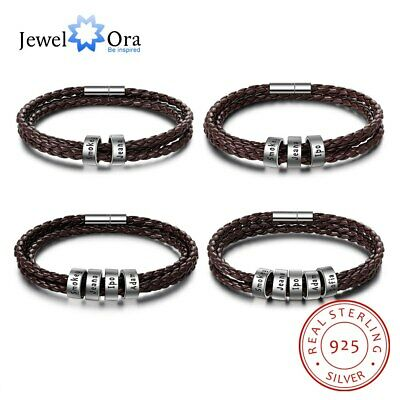 Sterling Silver Personalized Name Beads Men Bracelet Brown Leather Charms Bangle