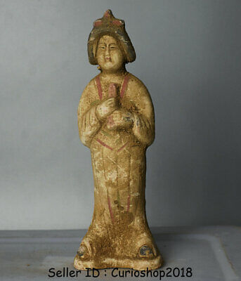 """8.8"""" Ancient Chinese Han Painting Pottery Dynasty maid Woman Statue Sculpture"""
