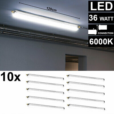 Set of 10 LED Tubs Lamps Ceilings Outdoor Wetroom Garages Daylight Lighting