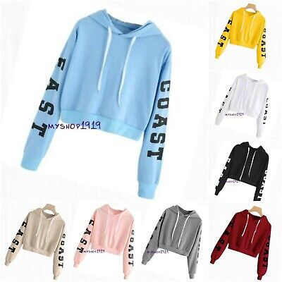 Girls Winter Top Warm Waist Cropped Sweater Hooded Hoodie Autumn Age 9-14 years