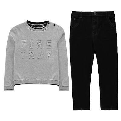 Kids Boys Firetrap 2 Pack Jumper Jeans Set Infant Clothing Crew Neck New