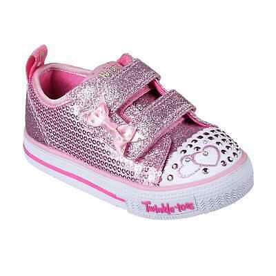 Kids Girls Skechers Twinkle Toes Itsy Bitsy Shoes Infant Canvas Low Textured New