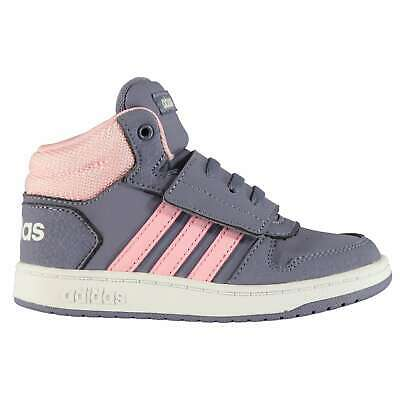 Kids Girls adidas Hoops Infant Mid Top Trainers High Padded Ankle Collar New