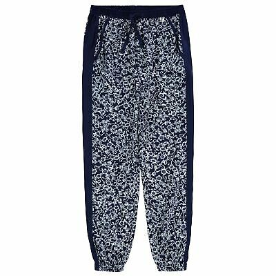 Kids Girls French Connection Floral Woven Pants Tapered Trousers Tonal New