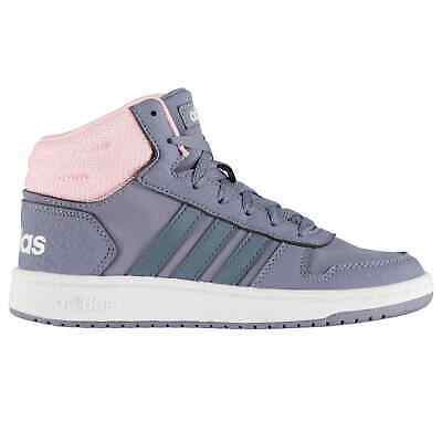 Kids Girls adidas Hoops Mid 2 Child Trainers Suede Lace Up Stripe New
