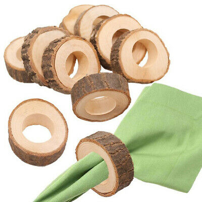 12pcs Wooden Napkin Rings Decorative Creative Serviette Buckle for Dinner Party