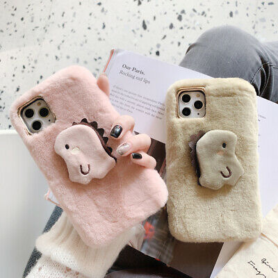 Cute Plush Warm Phone Case Furry fluffy Fur Cover for iPhone 7 8 X XR 11 Pro Max