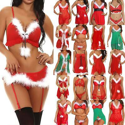 Christmas Womens Sexy Lingerie Underwear Xmas Lace Mesh Red Erotic Dress Outfits