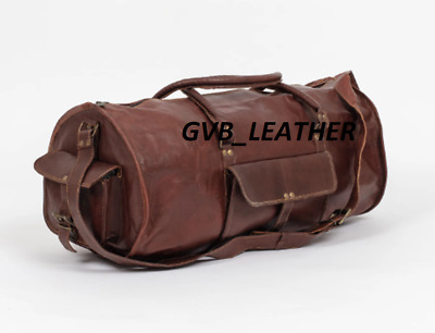Vintage Leather Duffle Travel Overnight Weekend Bag Outing Holdall Luggage Carry