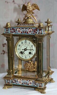 Empire Champleve Enamelled Four Glass Mantle Clock 鐘錶時鐘