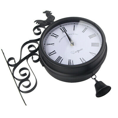Wall Clock Antique Iron Art Quartz Outdoor Double Sided Vintage Time Rooster